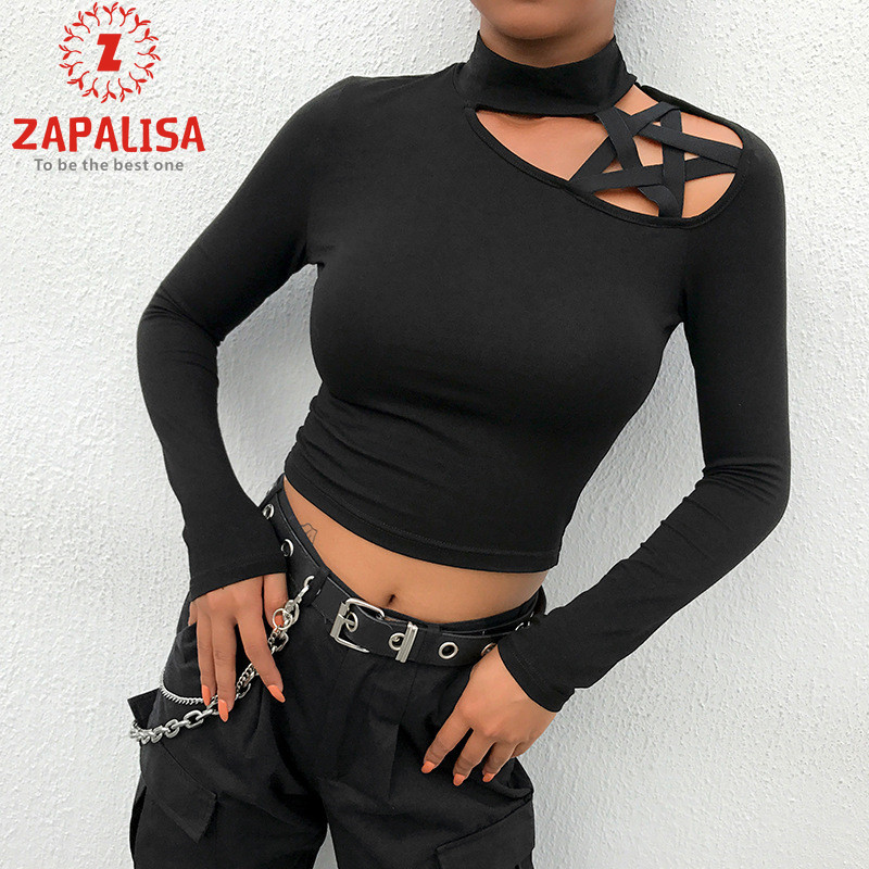Zapalisa Off Shoulder Pentacle Hollow Out Creative Design Long Sleeve Crop Tops Fashion Turtleneck Slim Streetwear Black T-Shirt