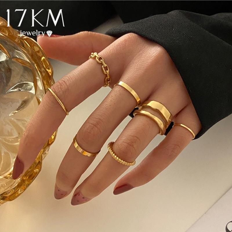 17Km Punk Gold Wide Chain Ringen Set Voor Vrouwen Meisjes Mode Onregelmatige Vinger Dunne Ringen Gift 2021 Vrouwelijke Sieraden party|Rings|   -