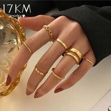 17km punk ouro anéis de corrente larga conjunto para mulheres meninas moda irregular dedo fino anéis presente 2021 jóias femininas festa