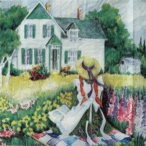 Image 1 - מגזרת נייר חתונה בציר מפיות נייר אלגנטי רקמות נוף כפרי ילדה עץ בית יום הולדת Guardanapo אריזות מפלגה
