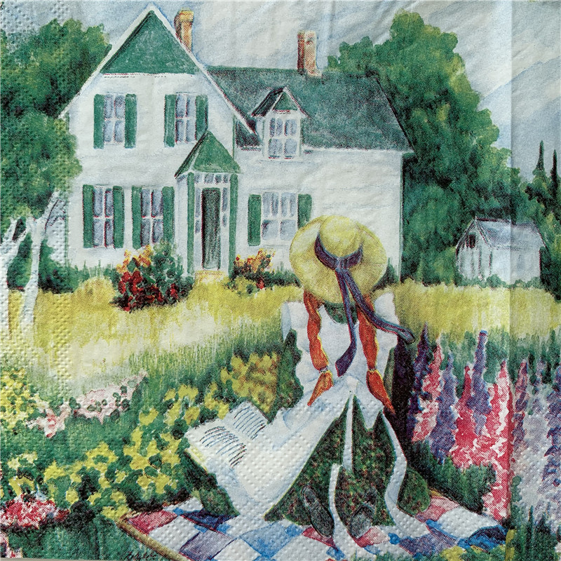 Decoupage Wedding Vintage Napkins Paper Elegant Tissue Countryside Scenery Girl Tree House Birthday Guardanapo Party Serviettes