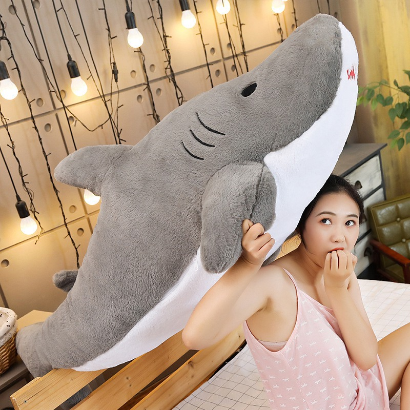 Lovely New Big Size Funny Bite Shark Plush Toy Pillow Soft Fish Stuffed Doll Appease Cushion Gift For Children Girlfriends Kids