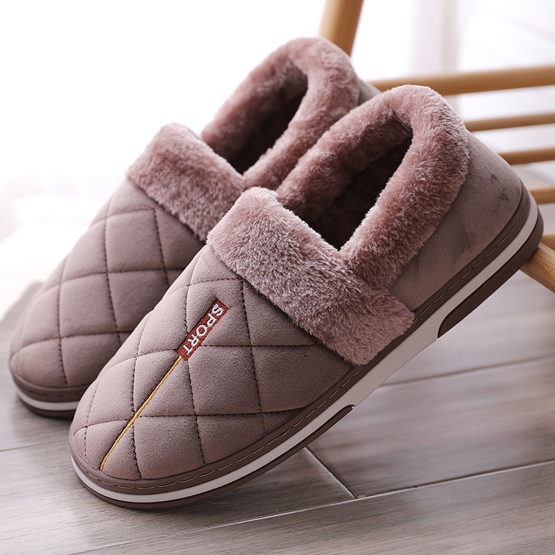 Winter Slippers Men Plus Size 45-50 Fashion Shallow Gingham Warm Home Slippers Man Solid PVC Plush House Shoes