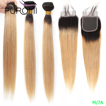 Brazilian straight Human Hair Weave bundles Ombre Honey Blonde Hair with Closure 1b/27 30 Burgundy Non-Remy Hair Middle Ratio