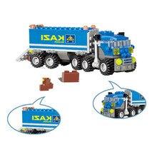 KAZI 163pcs DIY Transport Dumper Truck Assembling Toys Small Particles Building Model Blocks Early Educational Toy for Kids