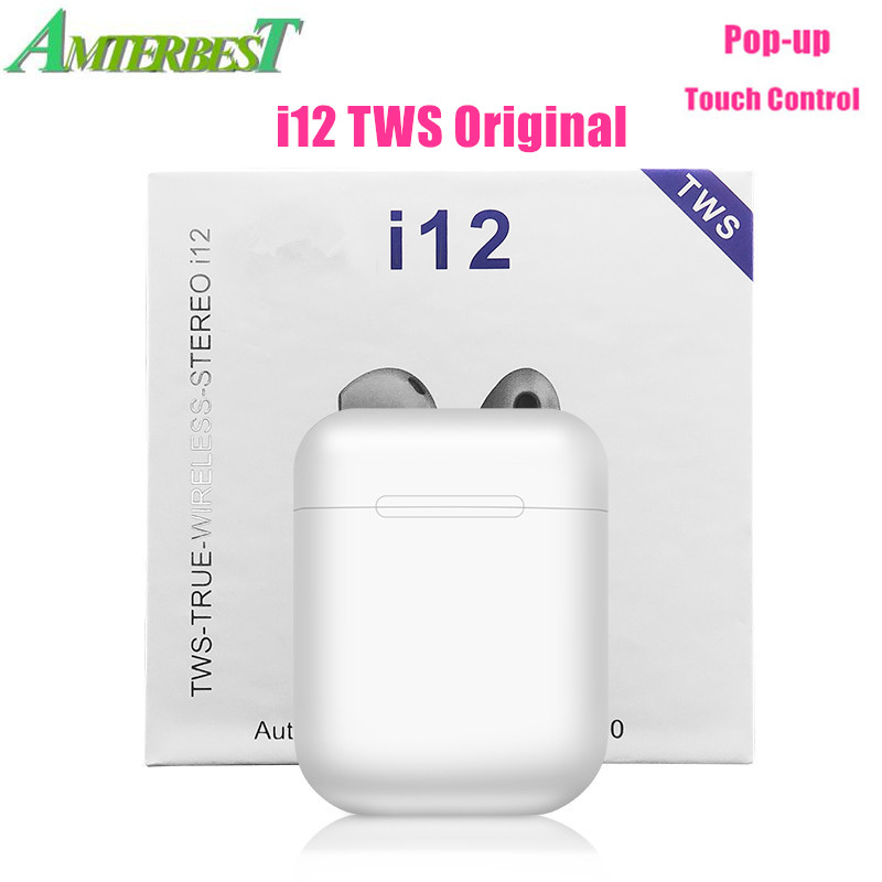 AMTERBEST i12 TWS Pop Up Tragbare Drahtlose Bluetooth Kopfhörer Touch Headsets Stereo Ohrhörer Pk I60 I30 für Smartphones