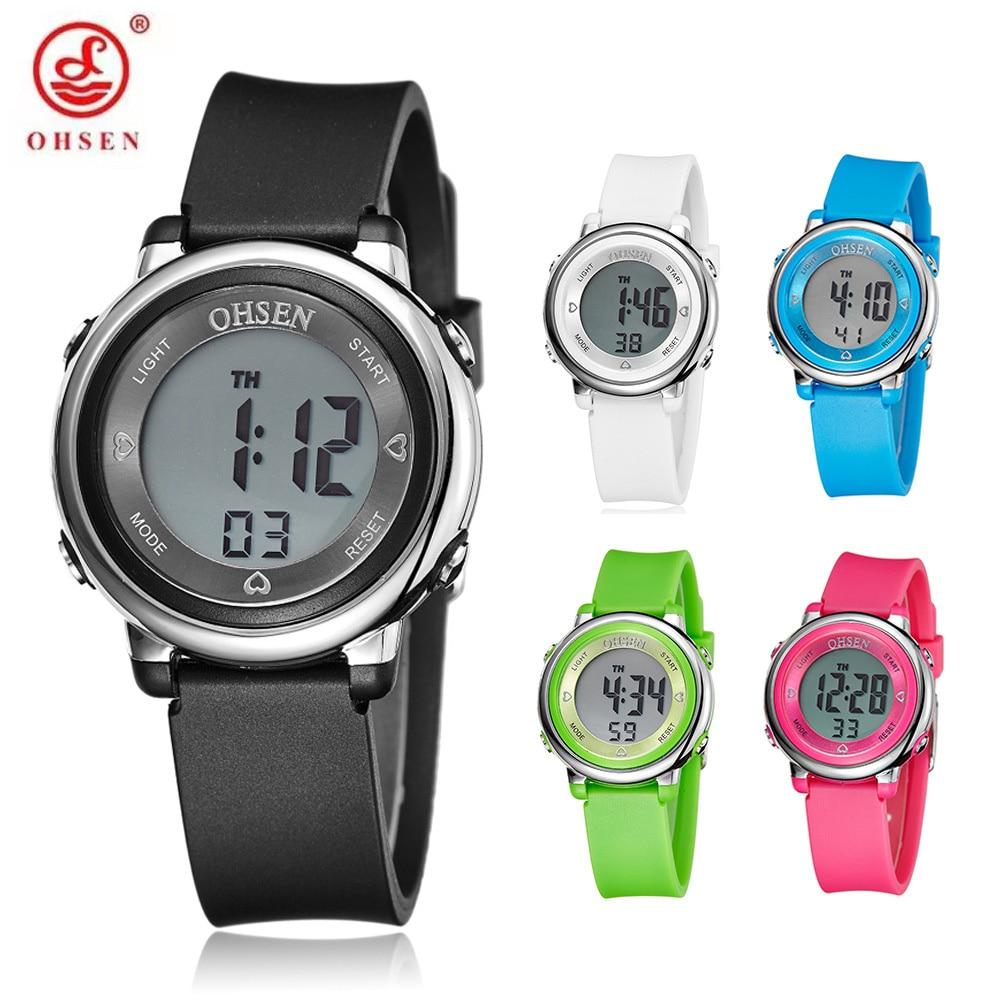 часы Original OHSEN Digital Watch Kids Wristwatches Child Boys Rubber Strap 50M Dive Sports Electronic Watches Students  Relogio