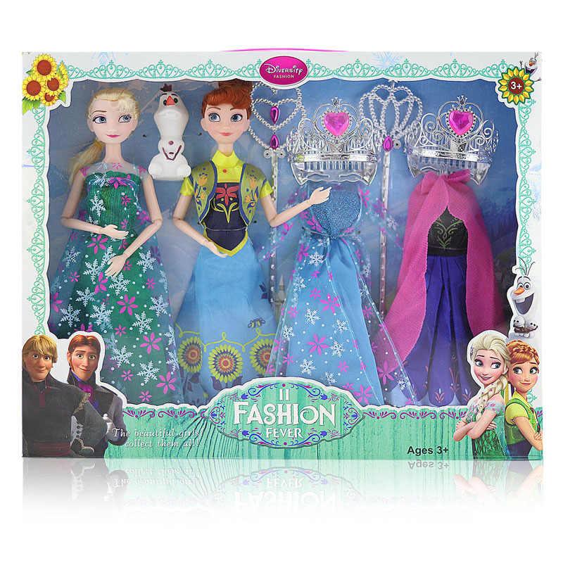 Disney frozen 2 boneca vestido frozen, bonecas de princesa, brinquedos, moda casual, artesanal, roupas de pano, melhores acessórios faça você mesmo