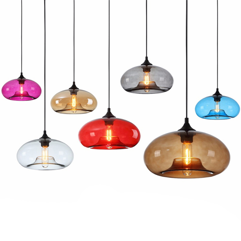 LED Nordic modern Art Decoration Hanging Colored Glass E27/E26 Chandelier creative idea restaurant bar coffee house Chandelier Pendant Lights     - title=