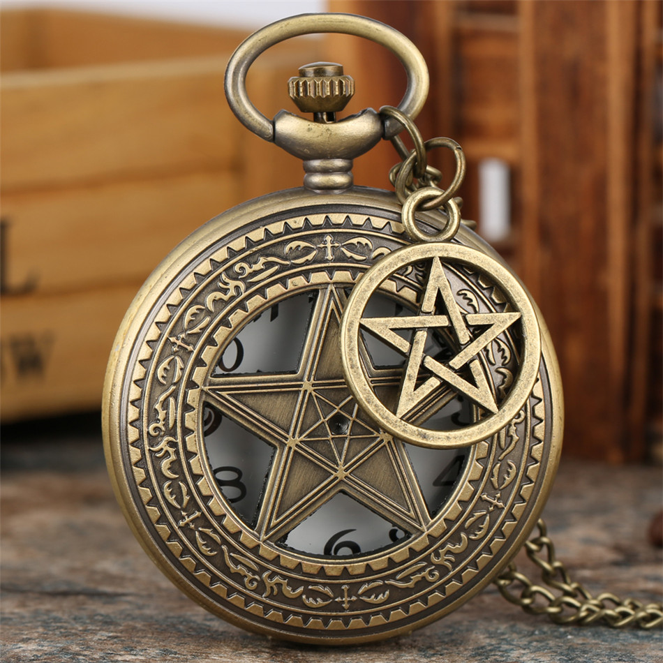Hollow Five Corner Star Design Pocket Watch Bronze Retro Necklace Watch With Sweater Chain Men Women Pendant Watches