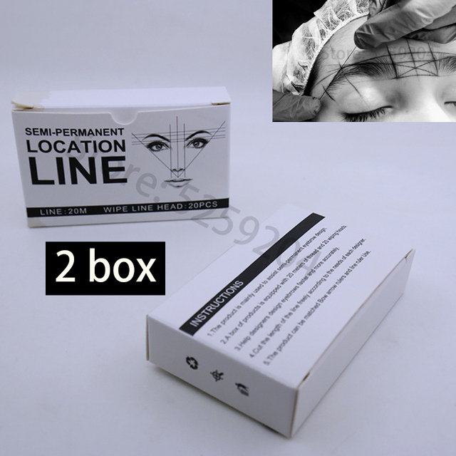 Microblading MAPPING STRING Arrow Line Ruler Positioning Bow Eyebrow Mapping Thread with Dyeing Liners for Make Up Measuring