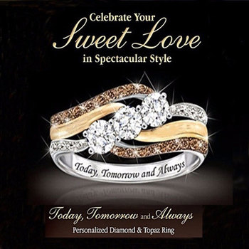 Engagement Rings for Women Fashion AAA Austrlia Crystal Finger Ring White Gold&Yellow Gold&Rose Gold Color Wedding Jewelry Gifts