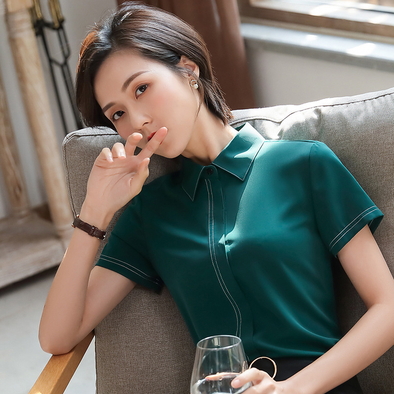 Women's Summer Short-sleeved Shirt Fashion Interview Formal Wear Jewelry Store Hotel Front Desk Beautician Work Clothes Business