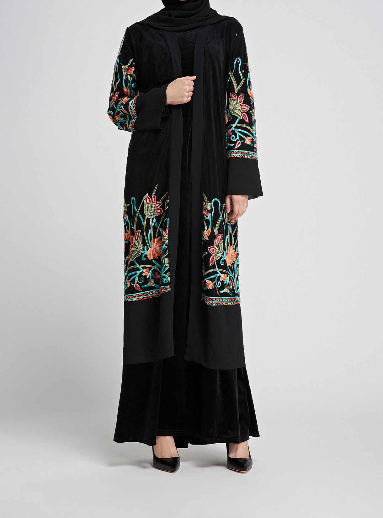 ムスリムアバヤドレス女性 jilbab 刺繍レース jubah ローブ花 elbise トルコモロッコカフタン着物カフタンイスラム服