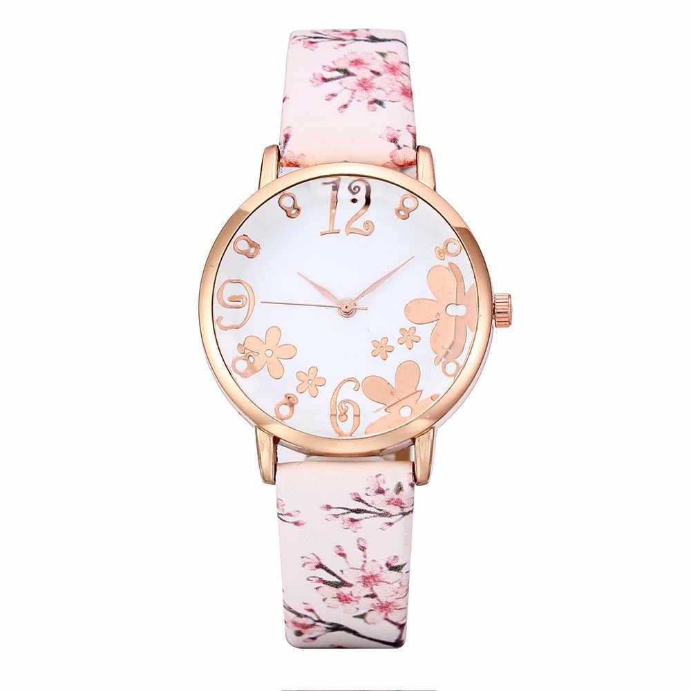 Moda damska wytłoczone kwiaty mały świeży drukowany pasek zegarek kwarcowy dla studenta zegarek sukienka damska zegarki na rękę prezenty reloj #10