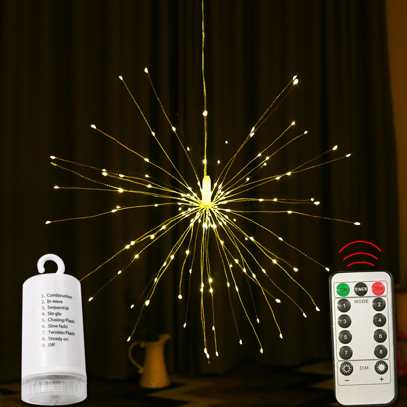 Firework Lights Remote Control 180 LED 60 Copper Wire String LED Light Fire Works For Wedding Decoration DIY Battery Party Light