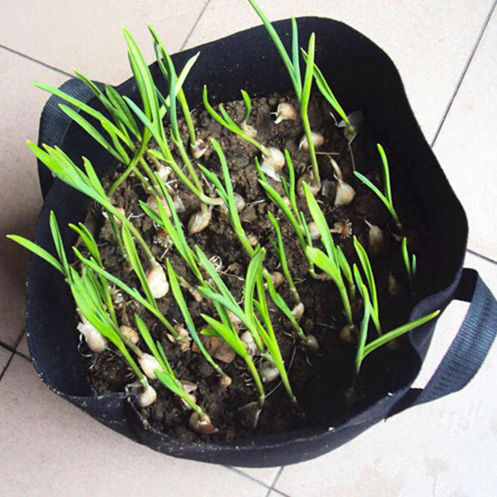 1-34 galões grande planta crescer sacos pote redondo flor saco de plantio borda verde planta crescimento bolsa vegetal crescente pote