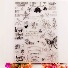 Flower Clear Stamps for DIY Scrapbooking Card Butterfly Blessing phrase Silicon Transparent Stamp Making Album paper Craft Decor