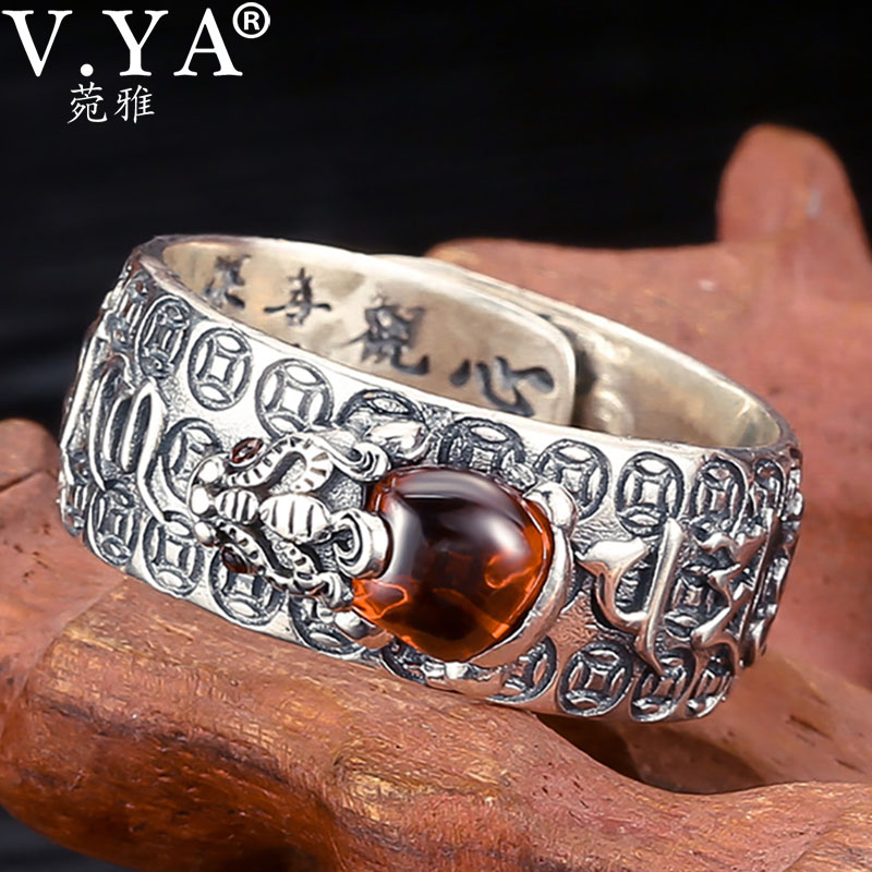 V.YA Natural Stone Silver Rings for Men Women Vintage 925 Sterling Silver Lucky Ring Chinese Pixiu Finger Ring Silver Jewelry|Rings|   - AliExpress