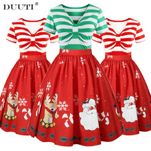 DUUTI Women Christmas Dress Plus Size Santa Claus Stripe Print V Neck Vintage Swing Dress Elegant Lady Festival Party Dress D25 plus size zebra stripe swing high low dress