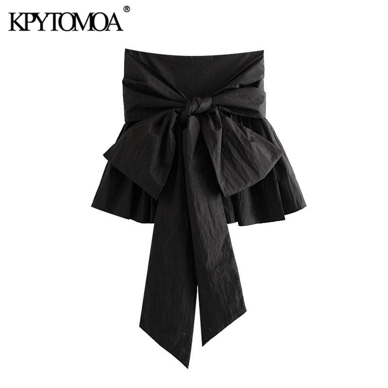 KPYTOMOA Women 2020 Chic Fashion Bow Tie Detail Mini Skirt Vintage Flared Hem Back Zipper Female Skirts Casual Faldas Mujer
