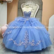 Eeqasn deslumbrante luz azul doce 16 quinceanera vestidos de cristal renda applique princesa v pescoço vestido de baile 15 anos