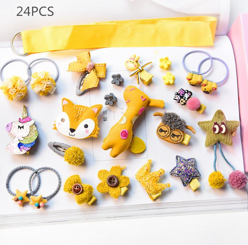 24pcs/set Children Hair Accessories Crown Animal Hair Clips For Girls Flower Hairpin Star Pompom Hair Ties Bands