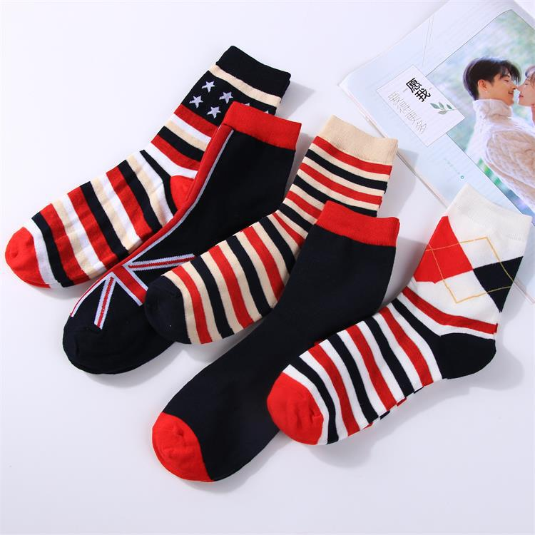 2 Pairs Men's Socks Cotton Casual Striped Flags England Printing Fashion 200 Needle Tube Socks Double High Autumn And Winter
