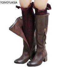 TOIVOTUKSIA Women Winter Leg Warmers Socks Button Crochet Knit Boot Socks Toppers Cuffs Multi Colors christmas hemp flowers crochet knit arm warmers
