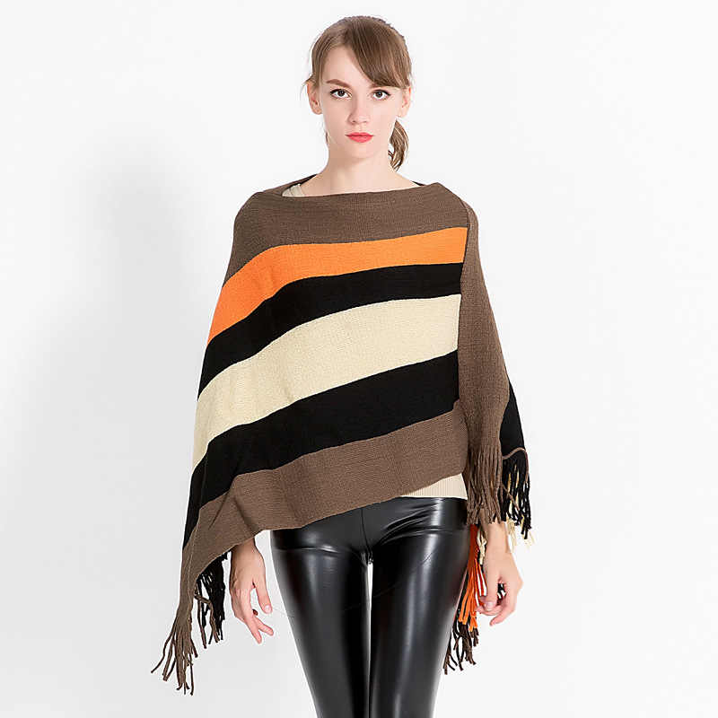 Autumn Winter Tassel Knitted Sweater Fashion Women Capes + Ponchoes Long Sleeve Solid Color Pullovers Female Poncho LW907
