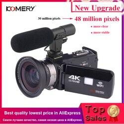 Видеокамера KOMERY 4 K, видеокамера, Wi-Fi, ночное видение, 3,0 дюйма, ЖК-дисплей, сенсорный экран, временная съемка, фотокамера с микросхемой