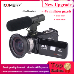 KOMERY 4K Camcorder Video Camera Wifi Night Vision 3.0 Inch LCD Touch Screen Time-lapse Photography Camera Fotografica With Micr
