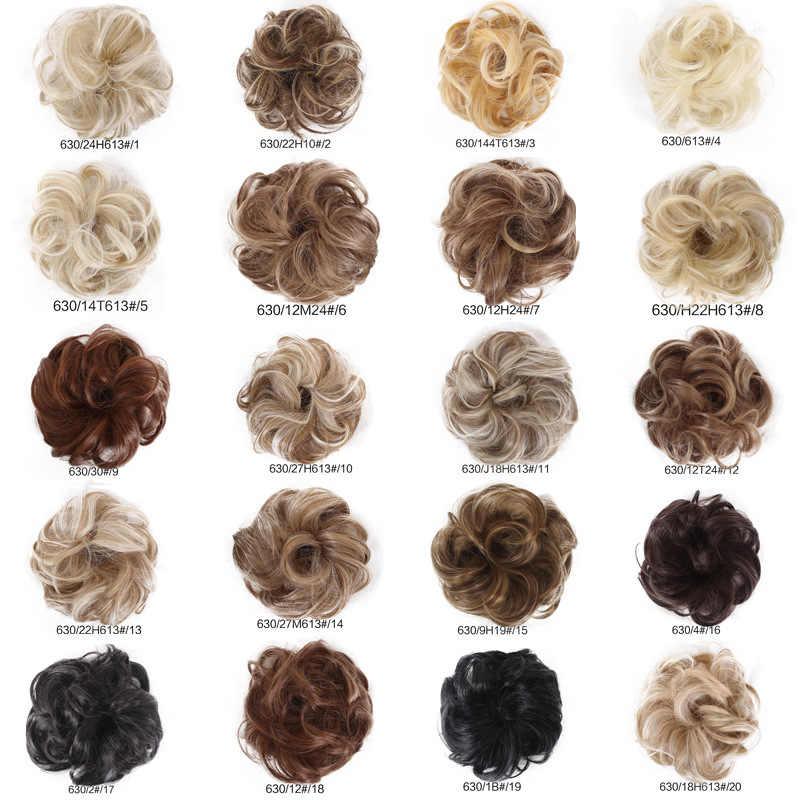 Dağınık topuz Scrunchies insan doğal kıvırcık dağınık topuz saç parçası Scrunchies sahte saç ekleme gerçek olarak insan şapkalar kafa bandı