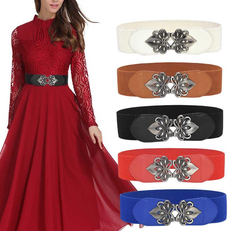 Womens Ladies Stretch Buckle Elastic Waist Belts Solid Big Wide Skinny Waistband