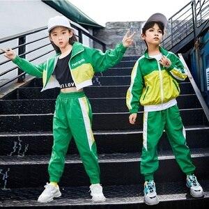 Image 2 - Groene Jazz Dans Kostuums Kinderen Hiphop Street Dance Praktijk Slijtage Kind Stage Performance Rave Outfit Casual Kleding DF1631