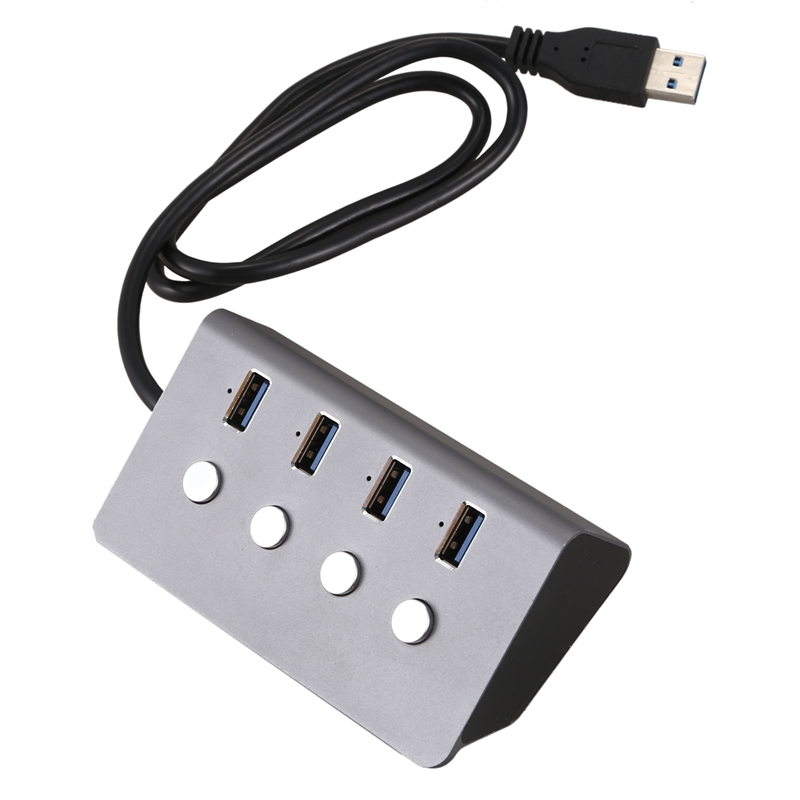 USB 3.0 Hub 4-Port With LED On / Off Switch USB C Splitter Adapter, High Speed, Suitable For PC Laptop