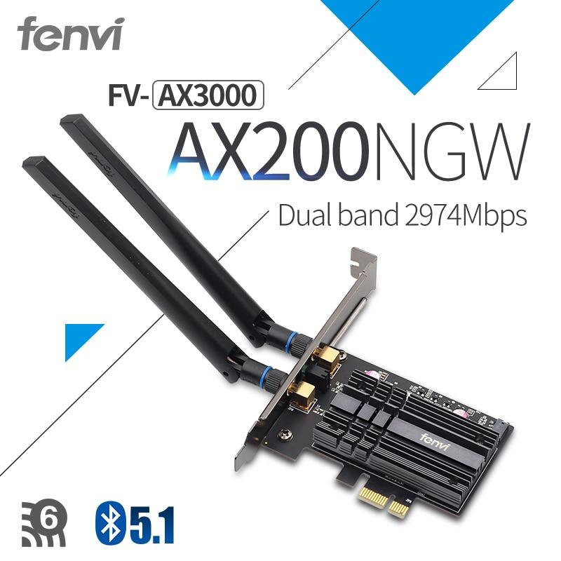 Fenvi Wireless AX3000 Wi-Fi 6 3000Mbps PCIe Bluetooth 5.1 WiFi Adapter Intel AX200 Wi-fi Card 802.11ac/ax 2.4G/5Ghz For Desktop