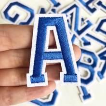 Нашивки с голубыми буквами, аппликации с железными нашивками «сделай сам», вышитые нашивки с буквами алфавита для детей, сумки для одежды, н...