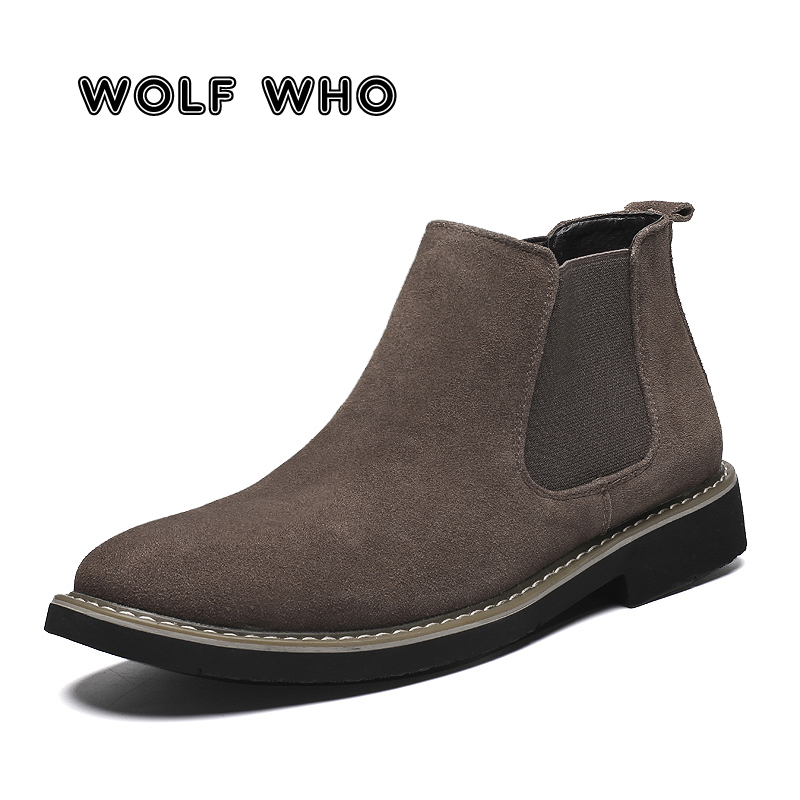 WOLF WHO Handmade Men Chelsea Boots British Style Fashion Male Warm Ankle Boots Soft Leather Casual Shoes Tenis Masculino X-198 image