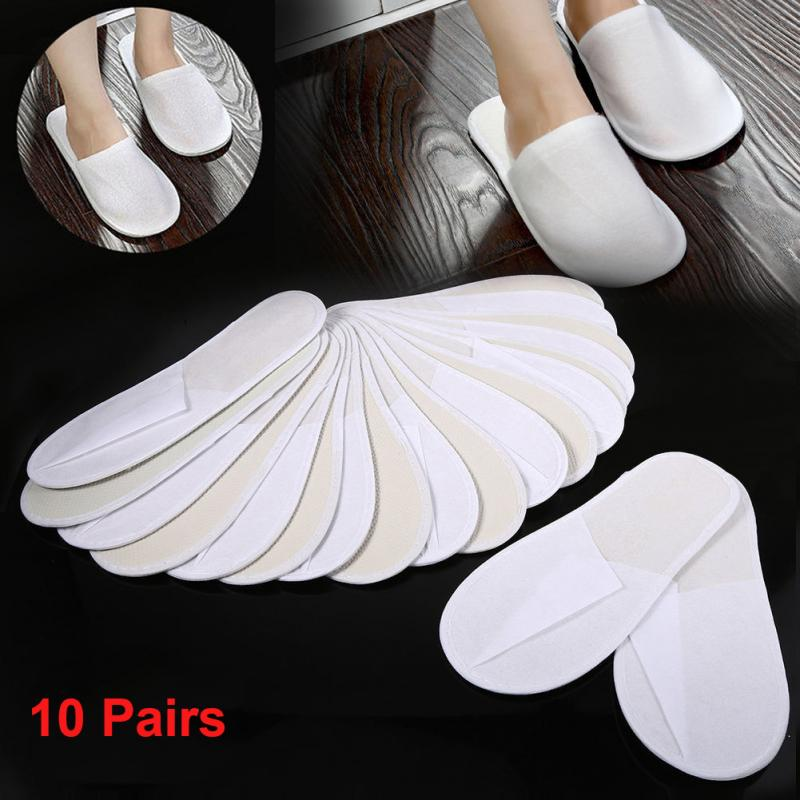 10Pairs Hotel Travel Spa Disposable Slippers Party Sanitary Home Guest Use Fluffy Closed Toe Men Women Disposable Slippers #734