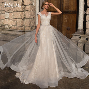 Adoly Mey Charming Scoop Neck Cap Sleeve Lace Mermaid Wedding Dresses 2020 Luxury Appliques Sashes Beading Trumpet Bridal Gown