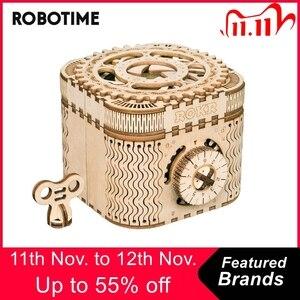 Image 1 - Robotime 123個クリエイティブdiy 3D宝箱木製パズルゲームアセンブリのおもちゃのギフト子供ティーン大人LK502