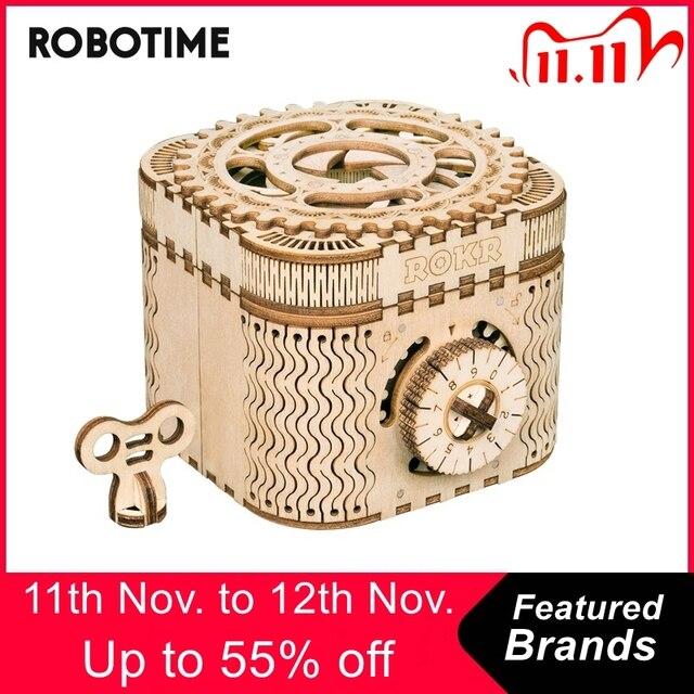 Robotime 123個クリエイティブdiy 3D宝箱木製パズルゲームアセンブリのおもちゃのギフト子供ティーン大人LK502