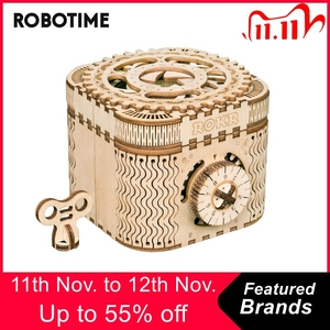 Image 1 - Robotime 123pcs Creative DIY 3D Treasure Box Wooden Puzzle Game Assembly Toy Gift for Children Teens Adult LK502
