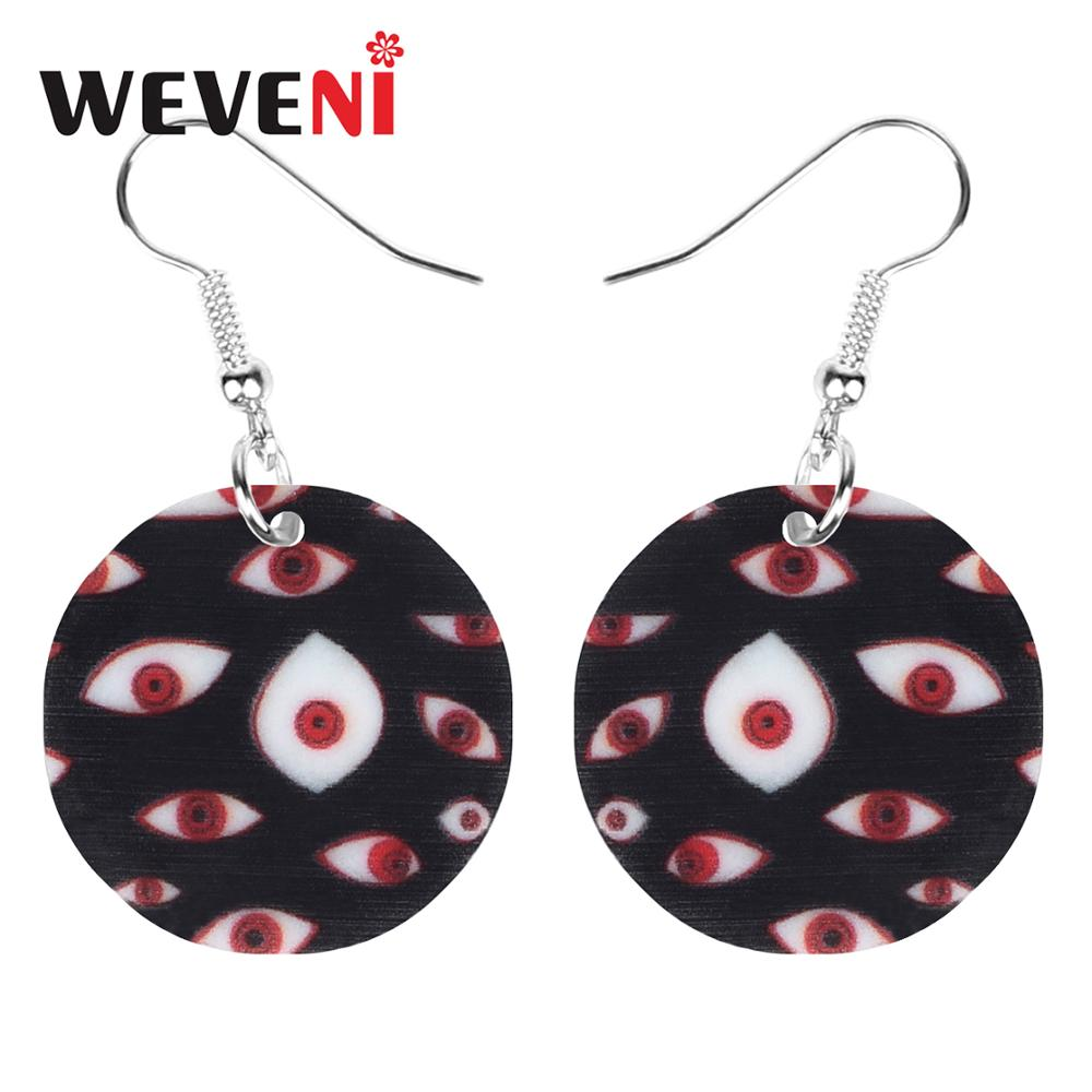 WEVENI Acrylic Halloween Horror Eye Round Earrings Drop Dangle Decorations Jewelry For Lady Girl Teen Party Charm Gift Accessory