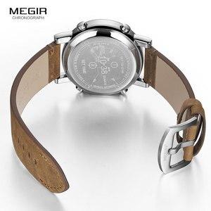 Image 5 - MEGIR 2019 Neue Top Band Uhren Männer Military Sport Braun Leder Quarz Armbanduhr Luxus Trommel Roller relogio masculino 2137