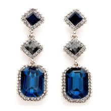 Long geometric square burst ladies fashion personality inlaid blue crystal earrings
