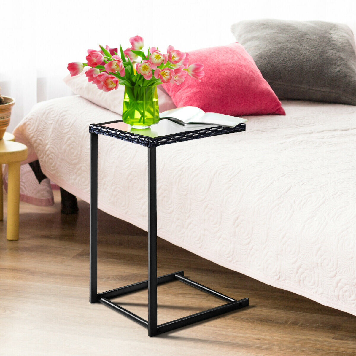 Costway Brown Coffee Tray Side Sofa End Table Rattan PE Wicker Square Glass Furniture   - title=