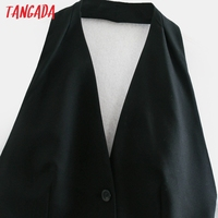 Tangada Fashion Women Solid Blackless Party Dress New Arrival Sleeveless Ladies Short Halter Dress Vestidos CE47 2