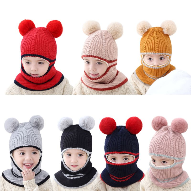 Kinder Winter Hüte Mädchen Jungen Kinder Warme Mütze Schal Set Baby Bonnet Schals